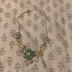 Turquoise and Silver Flower Statement Necklace